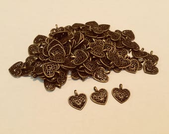 Set of 200 Bronze Toned Heart Charms! LIQUIDATION SALE