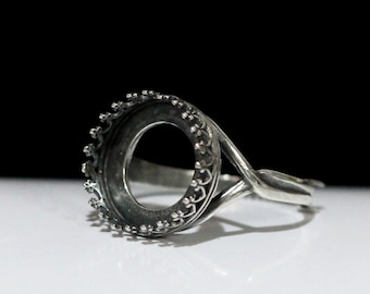 1pcs, Finger ring expandable, for stone 15mm, size 8 and up, Antique Silver (B29-11)