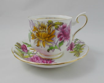 Royal Albert Tea Cup and Saucer Flower of the Month Series November Chrysanthemums, Vintage Tea Cup, Bone China, Hand Painted, No. 11