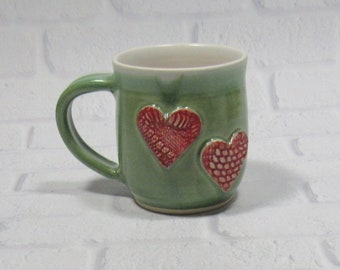 Ceramic Mug - Pottery Mug - Sweetheart Mug - Hearts Mug - Ceramic Coffee Cup - Ceramic Mug - Tea Mug - Green Mug - Wedding Favor