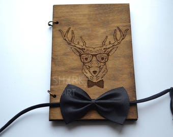 Wooden Deer Hipster Sketchbook Custom Wooden Name Personalized Gift Anniversary Wedding Planner Journal Recipe Notebook Diary Book Xmas Gift