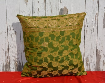 Green and Gold Sequined Saree Pillow