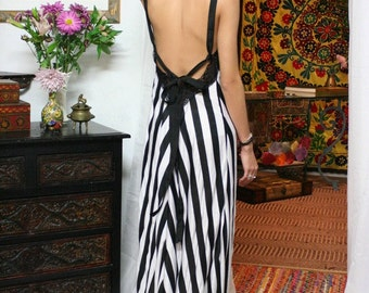 Black and White Stripe Backless Dress Nightgown Classic Lingerie Bridesmaids Elegant Black and White Wedding Sleepwear