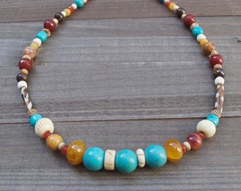 Turquoise Southwestern Inspired Beaded Indian Princess Necklace