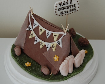 Fondant Camping Tent Wedding Cake Topper