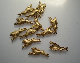 12 small brass running rabbit charms