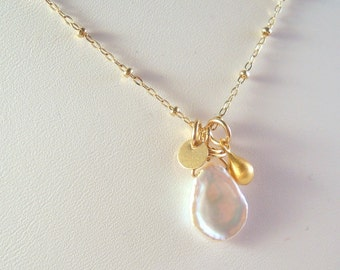 Freshwater Keshi Pearl and Gold Filled Necklace