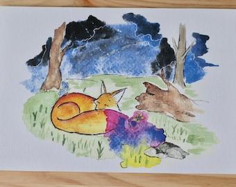 Watercolor Sleeping Fox Painting