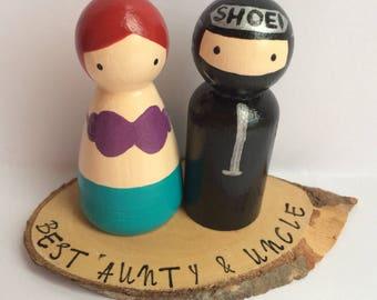 Personalised Peg Couple on log slice