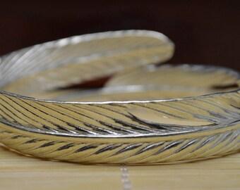 35 Gram Purity 990 Fine Silver Solid Leaves Bracelet Bangle Size Adjust Signed