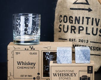 Whiskey Chemistry Gift Pack | Whisky Gift, Chemistry Gift, Lowball Rocks Glass, Whiskey Glass, Whiskey Stones, Sipping Stones, Science Gift