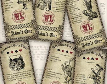 Wonderland Entry Tickets alice party printable paper craft hobby crafting scrapbooking instant download digital collage sheet - VDTIAL1028