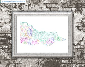 River basins of Victoria in rainbow colours (high resolution digital print) map print, wall art, poster map, home decor, wall decor, gift