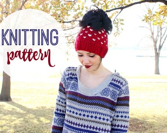 Fair Isle Bun Bean KNITTING PATTERN | Instant Download