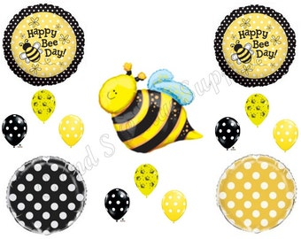 BEE DAY POLKA Dots Happy Birthday Party Balloons Decoration Supplies Bumblebee