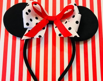 Cute 101 Dalmations Bow inspired Black Minnie Mouse Headband Ears