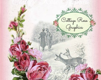 Pink Roses Winter Christmas Add Your Own Text Digital download  BUY 3 get one FREE