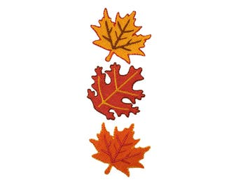 Fall Leaves Iron On Applique, Fall Leaves Iron On Patch, Leaf Applique, Autumn Patch, Leaves Patch, Kids Patch, Embroidered Patch (119424)