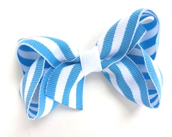 Light blue striped hair bow - 3 inch bow, boutique bows, girls hair bows, toddler bows, girls bows, blue hair bows, hair clips, hair bows