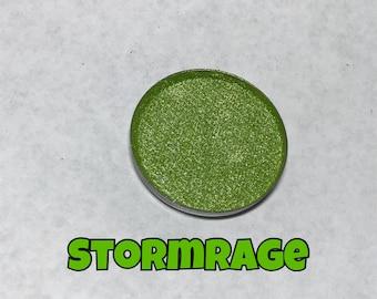 Stormrage, Green Shimmer Eyeshadow Single Pan, Eye Shadow, Vegan and Cruelty Free Cosmetics, Goth Makeup