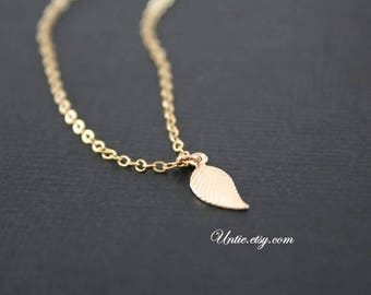 Personalized shiny Leaf necklace 14 K gold Filled or Sterling Silver-cute small everyday jewelry, Mom's necklace, mother's day birthday gift