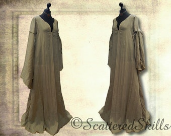 Medieval dress gown under dress Chemise kahki for Larp, fantasy in your size