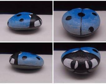 Hand painted blue ladybug rock/ painted animal stone