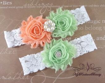 Wedding Garter, Garter, Bridal Garter, Seafoam Garter, Mint Green Garter, Light Peach Garter, Handmade Garter belt, Lace Garter Set GTF0040