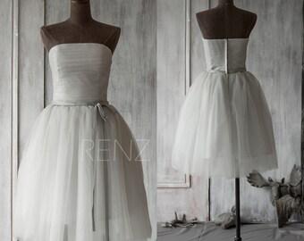 Grey Short Bridesmaid Dress, Gray Sleeveless Wedding Dress, Straight Across Strapless Tulle Formal Dress Puffy Dress Tea Length (GS061)