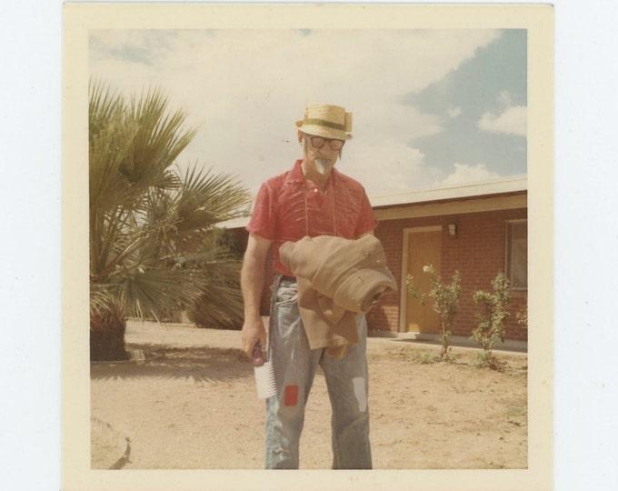Vintage Snapshot Photo: Strange Man with Pruning Saw (71541)