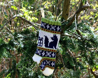 Fox Christmas stocking, Fair Isle Fox Christmas Stocking, Knit Christmas stocking, Green Ornament, Fairisle Christmas, - ready to ship SRGRB