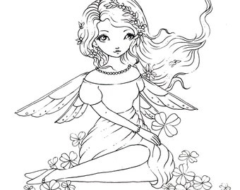 Clover Fairy - Digital Stamp Instant Download /  Fairy Girl Lil Sweetie Mia by Ching-Chou Kuik