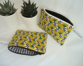 "Clutch makeup ""pineapple"" graphic flat clutch, exotic, women gift, teen gift"