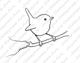 Digital Stamp: Clip Art, Little Bird, Wren, Commercial Use Clipart, Bird Stamp, Line Art, Freehand Drawing, INSTANT DOWNLOAD