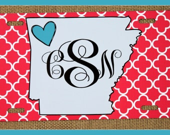 State License Plate Monogrammed Gifts Monogram Car Accessories Personalized Car Tags License Plates Arkansas Cute Car Accessories For Women
