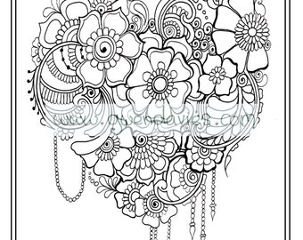 Wedding favour, PDF download bespoke personalised colouring activity henna flowers. holiday art therapy table
