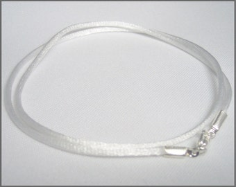 Pendant Cord Necklace WHITE Satin - You Choose Length -silver tone Lobster Clasp jewelry