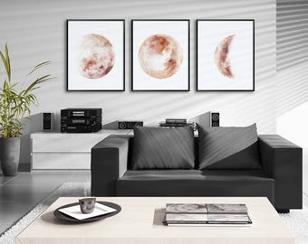 Moon Phases Watercolor Art Prints - Set of 3 Sepia Lunar Phases Prints   - Moon Chart Posters - Housewarming Gift
