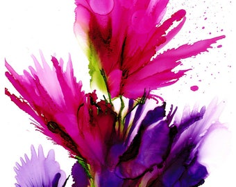 Alcohol Ink Art, Ink Art, Colourful ink art, Abstract, Floral, burst of Colour