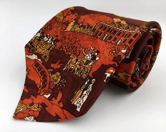 Vintage 1970s Wide Brown Polyester Tie with Orange Printed Design