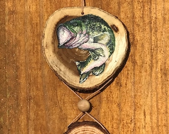 Hanging Bass and Fishing Lure Ornament