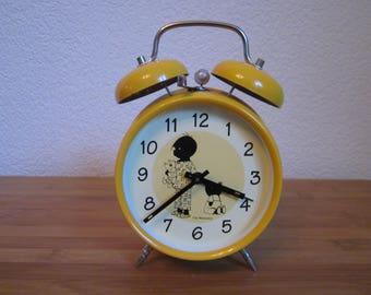 Vintage Dutch Jacquelyn and Janneke alarm clock yellow Fiep West Village