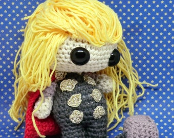 Thor amigurumi style PDF crochet pattern inspired by the avengers