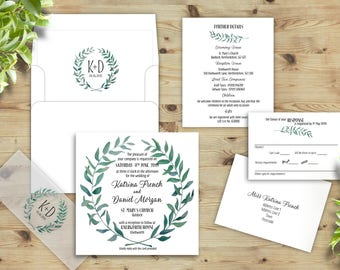 Green and White, Leaf Wreath, Wedding Invitations, Floral Frame, Country Wedding, Olive Branch Invites