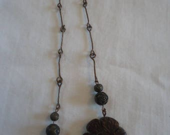 Metal Beaded Bookthong/Bookmark with Floral Metal and Wooden Beads