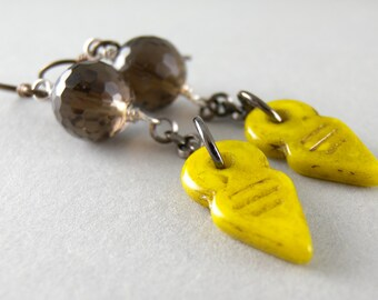 Downtown- Smoky Quartz Stone and Chartreuse Vintage Glass Earrings with Free USA Shipping