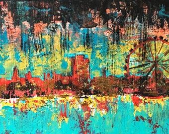 City Life London skyline original artwork