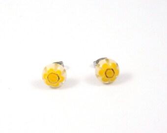 Yellow Millefiori Stud Earrings - Surgical Steel Earrings