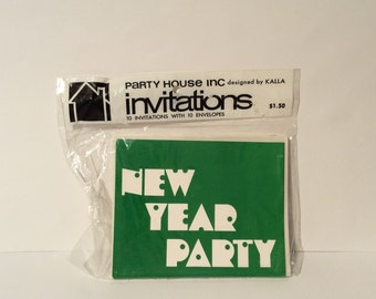 Vintage 1980s Sealed Green 'New Year Party' Invitations, Party House, MCM/Panton Style