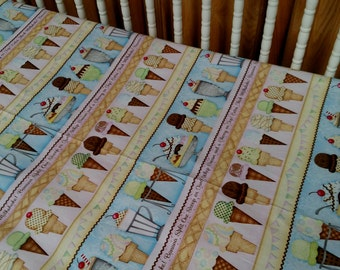Yummy Yummy Ice Cream . Baby CRIB or TODDLER Bed Cotton Fitted Sheet